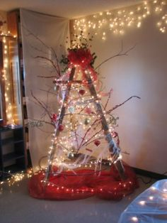 wooden ladder christmas tree - Google Search