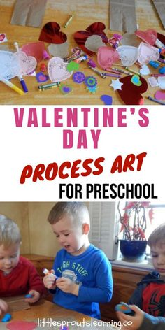 Valentine's Day Process Art for Preschool. I love Valentine's day. I love letting the kids create tons of wonderful process art creations. I really want them to gain confidence and self-esteem. Process Art Preschool, Preschool Activities, Educational Activities, Valentine Crafts For Kids, Valentines Day Activities, Projects For Kids, Art Projects, Art For Kids, Gain