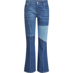 Alexander McQueen Patchwork Flare Jeans ($595) ❤ liked on Polyvore featuring jeans, pants, bottoms, blue, alexander mcqueen, flared jeans, patchwork jeans, blue jeans and flare jeans