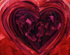 Arte moderna amore Folk Art Print 13 x 19 cuore II di Natasha Wescoat