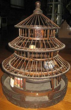 "Vintage-Asian ""Pagoda""Handmade- Carved Wooden Birdcage-3-Vase Feeders-Bird Cage"