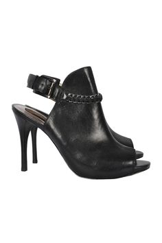 Extravagante Peep Toes aus schwarzem Leder, Gr.39 #vintagefashion