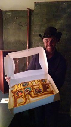 Birthday boy Chris Rupp with an awesome custom birthday cake.