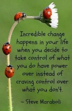 Incredible changes happen in your life when you decide to take control of what you do have power over instead of craving control over what you don't .