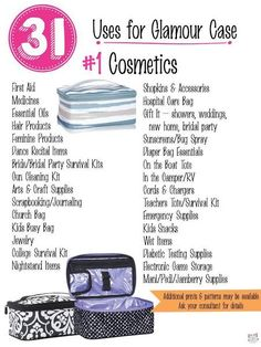 Thirty One Gifts- Glamour Case- 31 UsesYou can find Thirty one gifts and more on our website.Thirty One Gifts- Glamour Case- 31 Uses Thirty One Games, Thirty One Fall, Thirty One Party, Thirty One Facebook, Thirty One Organization, Purse Organization, Organizing Ideas, 31 Party, Thirty One Business