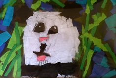 torn paper collage animals