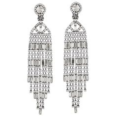 Kenneth Jay Lane Crystal Waterfall Clip Earring ($315) ❤ liked on Polyvore featuring jewelry, earrings, accessories, silver, kenneth jay lane, crystal jewellery, long crystal earrings, kenneth jay lane earrings and crystal stone jewelry