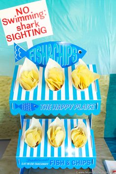 This Shark Party includes ideas for all areas of your birthday celebration - decorating ideas, DIY projects, food for kids, activities, favors and more! Shark Party Foods, Happy Bday Cake, Birthday Celebration, Birthday Parties, Shark Cupcakes, Personalized Banners, Birthday Box, Fish And Chips, Party Photos