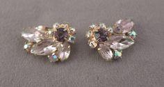 Beautiful Lavender Rhinestone Clip Earrings by thejeweledbear