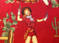 Alexander Henry pinup cowgirl fabric by FebFiveDesigns on Etsy