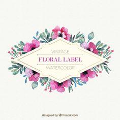 flores de color rosa con marco de hojas de acuarela | Descargar Vectores gratis