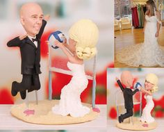 Personalised wedding cake topper  Volleyball by UniqueCakeToppers #weddingcaketopper #caketooper #volleyball #minime