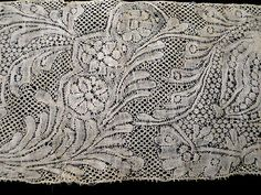 early Binche with Flanders ground c Needle Lace, Bobbin Lace, Antique Lace, Vintage Lace, Types Of Lace, Textiles, Lacemaking, Linens And Lace, Ribbon Work