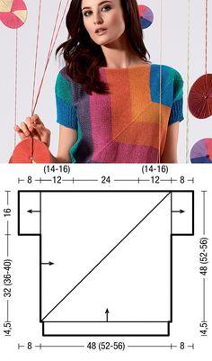 Джемпер с геометрическим диагональным узором - схема вязания спицами. Вяжем Джемперы на Verena.ru