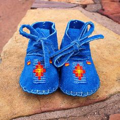 ROYAL BLUE BEADED BABY MOCCASINS by JANET WHITEMAN - CHEYENNE