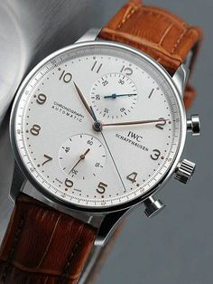 Swiss IWC Silver Dial Brown Leather Strap-2737 Watch Replica