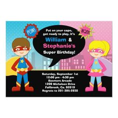 Superhero and Super Girl Birthday Party Invitation Girl Superhero Party, Superhero Birthday Invitations, Superman Party, Sleepover Birthday Parties, Joint Birthday Parties, Dc Comics, Girl Birthday, Birthday Ideas, Fourth Birthday