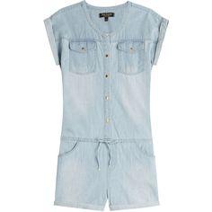 Juicy Couture Denim Jumpsuit (299 AUD) ❤ liked on Polyvore featuring jumpsuits, blue, juicy couture, juicy couture jumpsuit, jump suit, blue jump suit and denim jumpsuit