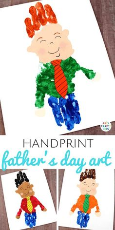 Father's day is on the horizon and today I'm excited to share a fun and very simple Handprint Fathers Day Art idea, that would look great framed as a stand-alone representation of dad in handprints or as part of your Arty Crafty Kids homemade card. Crafts For Boys, Toddler Crafts, Preschool Crafts, Projects For Kids, Gifts For Kids, Art For Kids, Art Projects, Dad Crafts, Diy Father's Day Gifts