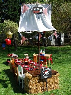 pirate ship table for a pirate themed bday party!!