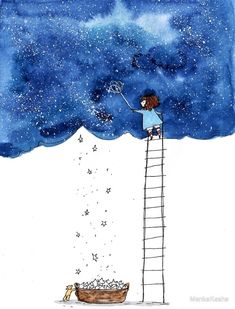Let S Go Get Some Stars Photographic Print Let S Go Get Some Stars Photographic Print Photographic Print Hand Drawn Ink Watercolor Design Millions Of Unique Designs By Independent Artists Find Your Thing Art And Illustration, Watercolor Illustration Children, Painting Illustrations, Character Illustration, Inspiration Art, Art Inspo, Doodle Art, Painting & Drawing, Watercolor Paintings