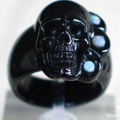 OPAL with Black Obsidian Carved Skull Ring, Gemstone Size 9