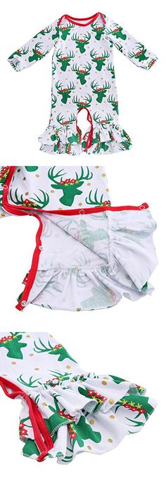 Cilucu Romper for Baby Girls Newborn Gown Infant Ruffle Cotton One-pieces Clothing Floral Outfits Green Christmas 12-18 months