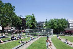 archeological pavilion by kadawittfeldarchitektur in elisen garden park in aachen, germany