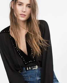 ZARA - COLLECTION AW15 - VELVET COMBINED BLOUSE