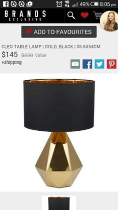 Gold base table lamp