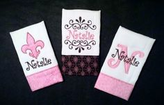 Set of 3 Girls Personalized Burp Cloth by JassyThreads1 on Etsy