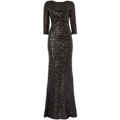 tfnc Long Sleeved Cut Out All Over Sequin Maxi Dress ($125) ❤ liked on Polyvore featuring dresses, gowns, black, women, black dress, black evening gowns, black evening dresses, long sleeve maxi dress and black ball gown