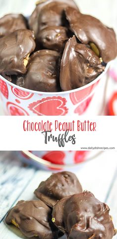 Creamy Peanut Butter truffles with only three ingredients and minimal prep time. Can't beat an easy recipe that tastes delicious and makes a fantastic gift! Peanut Butter Snacks, Peanut Butter Truffles, Peanut Butter Sauce, Best Peanut Butter, Chocolate Peanut Butter, Chocolate Recipes, Fun Desserts, Delicious Desserts, Dessert Recipes