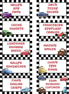 I made these Lightning McQueen Disney Cars for labels for my sons 3rd birthday party this weekend and thought i'd share them.  they print perfectly onto an A4 page.  I made them using a template created by Yvonne Blatt's yvonnebyattsfamil...  She has loads of more great ideas so make sure to have a look!  www.styleaficiona...