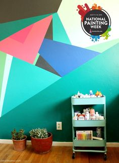 Awesome geometric wall mural via @pearmama | Create your own geometric wall mural for National Painting Week and Sherwin-Williams.