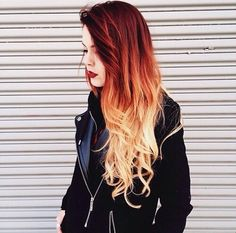 Red ombre hair .