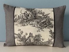 Black toile pillow cover. French Country. by sterlingstitchery
