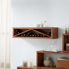 """Sale ends soon. Shop Aspect Walnut 47. 5"""" Floating Cube Shelf Wine Insert. Aspect floats a storage idea that's great for small spaces, freeing up floor space in the dining room, family space, entry or hallway. This minimalist insert fits into the 47. Wine Shelves, Crate Shelves, Bookcase Shelves, Shelf, Bookcases, Small Living Room Furniture, Unique Furniture, Furniture Ideas, Floating Cube Shelves"""