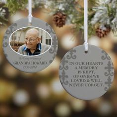 "Keep their memory alive with this In Loving Memory Photo Memorial Ornament For Him. design features any photo and 3 lines in front, such as ""In Loving Memory"", and the name and memorial dates. Surprise Gifts For Him, Thoughtful Gifts For Him, Unique Birthday Gifts, Birthday Gift For Him, Gifts For Dad, In Memory Gifts, Trending Christmas Gifts, Christmas Gifts For Him, Personalized Christmas Ornaments"