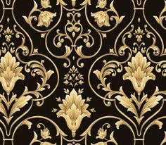 Black and Gold Architectural Damask Wallpaper QT19362