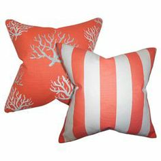 "Bring a pop of visual interest to your living room sofa or reading nook arm chair with these eye-catching cotton pillows, showcasing a striped motif paired with a coastal-chic coral print.   Product: Set of 2 pillowsConstruction Material: Cotton cover and 5/95 down fillColor: SalmonFeatures:  Insert includedHidden zipper closureMade in the USAMade exclusively for Joss & Main Dimensions: 18"" x 18""Cleaning and Care: Spot clean recommended"