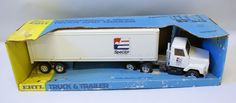 Vintage ERTL Pressed Steel #3605 I-H S Series Spector Freight Truck & Trailer Toy, in Box!