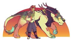Fantasy Voltron, Pidge/Katie and Green Lion.