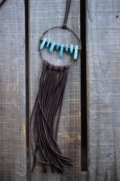 Boho, Brown Deerskin Lace necklace with brown beads, and turquoise long tooth beads
