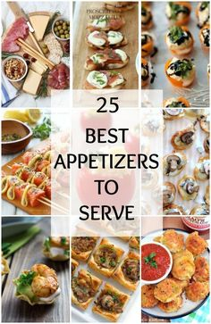 25 BEST Appetizers to Serve for Holiday Party Entertaining Are you having a dinner party soon and have no idea what to serve We ve got 25 of the BEST appetizers you can make now Check out ablissfulnest for more ideas Finger Food Appetizers, Appetizers For Party, Easy Holiday Appetizers, Girls Night Appetizers, Individual Appetizers, Wine Appetizers, Heavy Appetizers, Party Finger Foods, Christmas Cocktail Party Appetizers