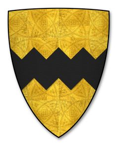 A modern representation of the arms of William le Vavasour, d. 1313.  From the The Nativity Roll (Greenstreet 19; Papworth M), dating to about 1300.   The illustrations represented here are based on the blazons in the 16th century copy transcribed by Anthony R. Wagner, Richmond Herald, housed at the College of Arms, London; formerly Wrest Park MS. 16, ff. 6-8