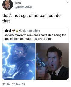 Marvel Actors, Marvel Funny, Marvel Avengers, Marvel Comics, Superhero Memes, Avengers Memes, Marvel Memes, Chris Hemsworth Thor, Marvel Cinematic Universe