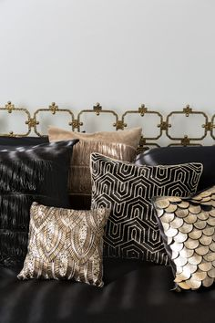 Art Deco Beaded Cushions - Art Deco design is synonymous with opulent finishes and glittering gold which are some of the key e - Art Deco Bar, Art Deco Decor, Art Deco Stil, 1920s Art Deco, Art Deco Design, Decoration, Cama Art Deco, Cushions On Sofa, Modern Cushions