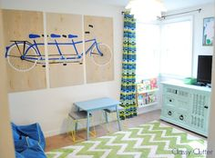 Bright and Fun Playroom Reveal - love this! Can make those cool stools out of dollar tree waste baskets and a cushion!