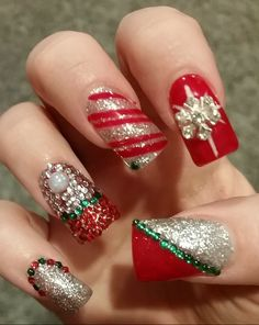 Winter Christmas Holiday. Snowflake Bows Candy cane stripes Red Green Silver. Hand painted Glitter Rhinestone Bling. inspired Nail art design 3D square flare gel acrylic.